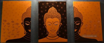 Buddha in Orange in Set Panels Ölgemälde